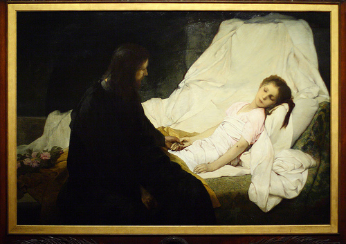 Image result for Woman jesus raises the girl from the dead