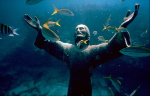 """Christ of the Abyss,"" an underwater sculpture in the Florida Keys"