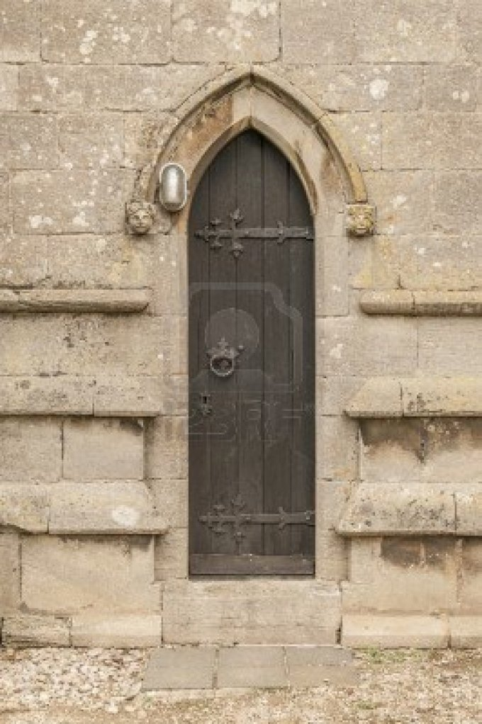 narrow-old-church-door-with-a-modern-light