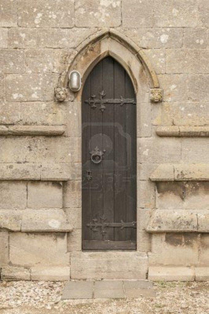 narrow-old-church-door-with-a-modern-light